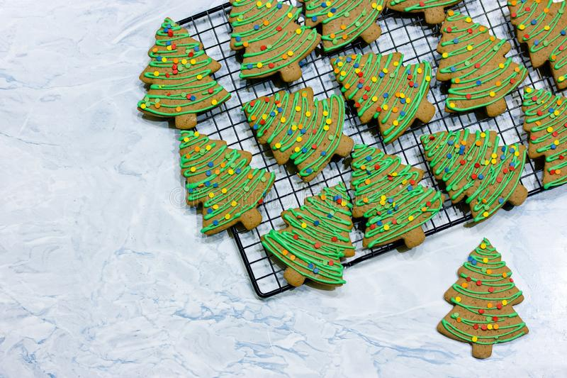 Christmas tree cookies royalty free stock image