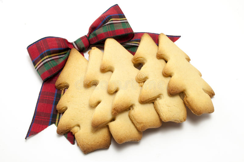 Download Christmas Tree Cookies Layer With Tartan Bow Stock Photo - Image: 19915940