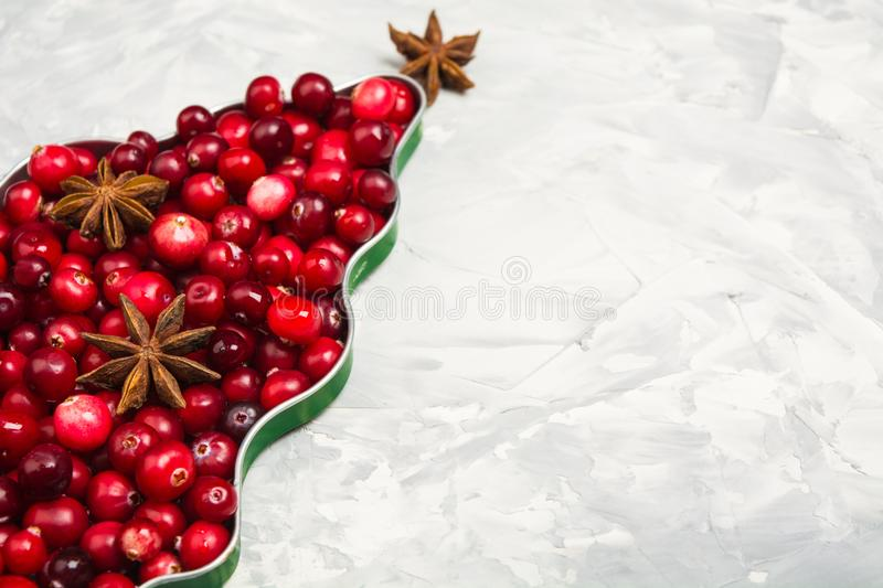 Christmas tree of cranberry and star anise over gray background royalty free stock photography