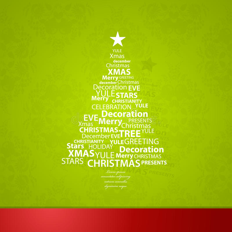 Christmas tree created of Christmas related words. And shadow behind it vector illustration