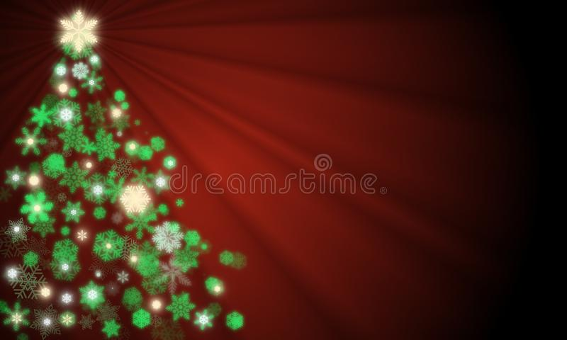 Christmas tree created from glowing green, yellow gold and white snowflakes with ray light shining from top royalty free illustration