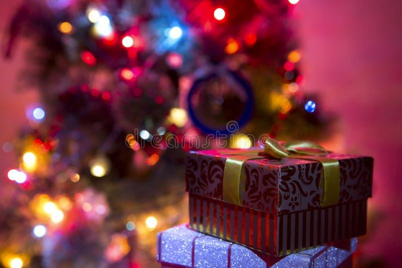 Christmas Tree creating a wonderful bokeh of lights. Christmas lights hanging in a tree creating a wonderful bokeh of lights royalty free stock photos