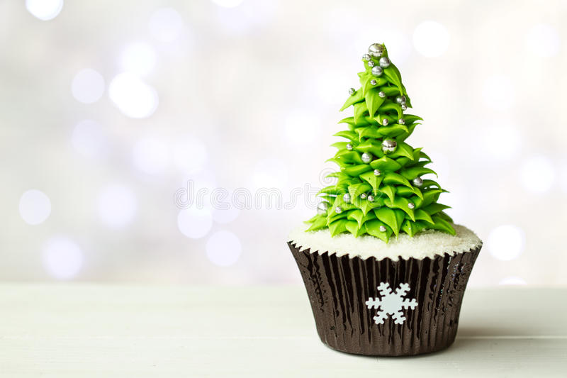 Christmas tree cupcake stock photos
