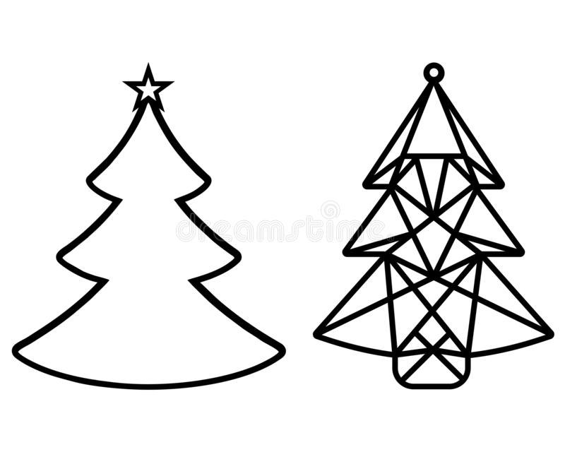 Christmas tree cut out of paper. Template for Christmas cards, invitations for Christmas party. suitable for laser royalty free illustration