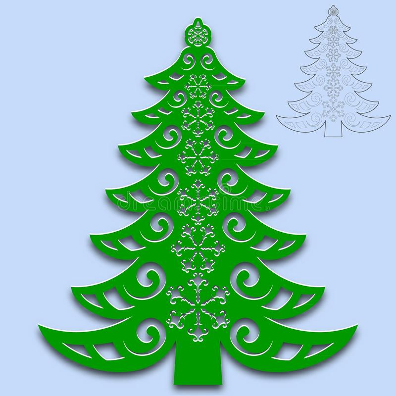 Christmas tree cut from paper. Template for design of greeting cards, congratulations, menus, etc. For cutting from paper, wood vector illustration