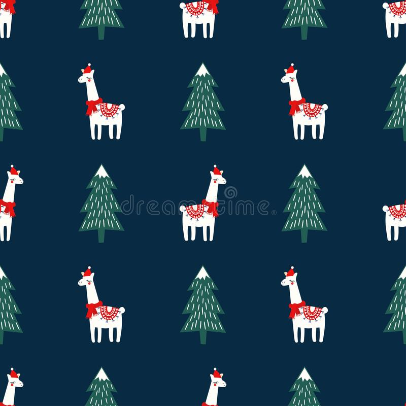 Christmas tree and cute lama with xmas hat seamless pattern on dark blue background. stock illustration