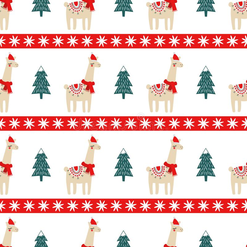 Christmas tree and cute lama with xmas hat seamless pattern. stock illustration