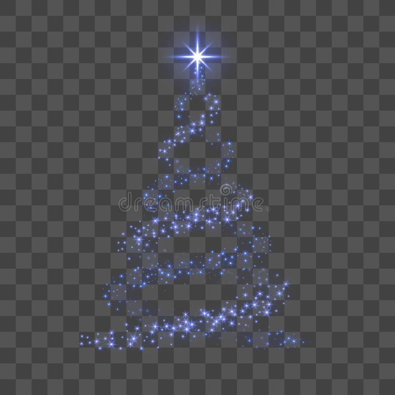 Christmas tree 3d for card. Transparent background. Blue Christmas tree as symbol of Happy New Year, Merry Christmas vector illustration