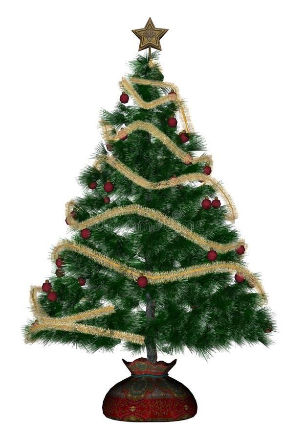 Christmas tree - 3D render stock illustration