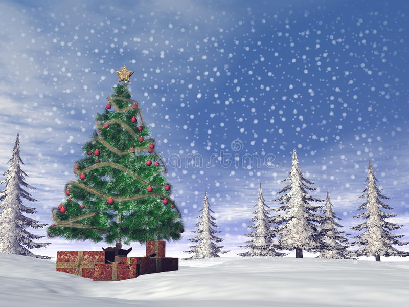 Christmas tree - 3D render royalty free illustration