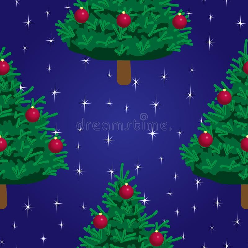 Christmas tree on dark background with stars - seamless vector pattern stock illustration