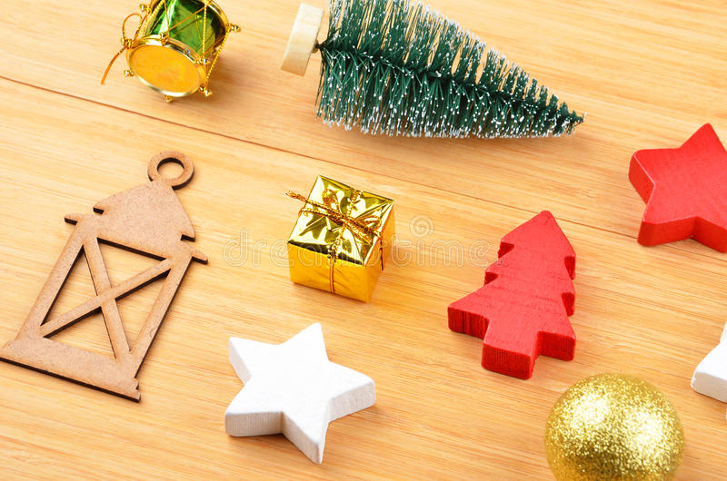 Christmas tree and decor. On natural wooden background stock photos