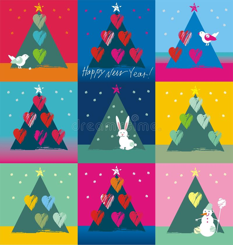 Christmas tree decorated with birds hearts bunny and snowman. In white, red, purple, blue, green, yellow colors a seamless pattern on a colorful background vector illustration