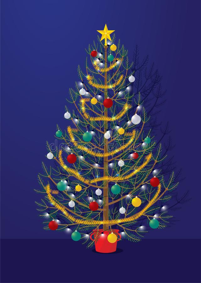 Christmas tree decorated on blue background with shadow royalty free stock image