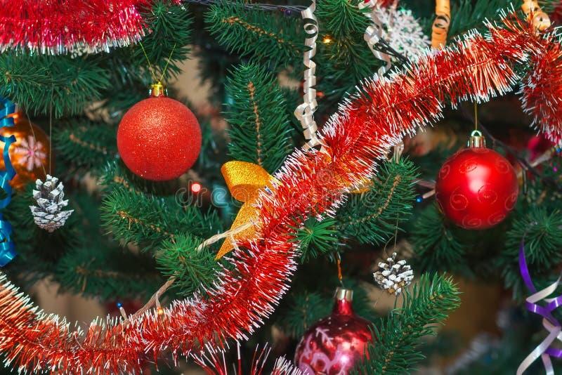 Christmas tree decorated with balls. Christmas tree decorated with colored balls royalty free stock photos
