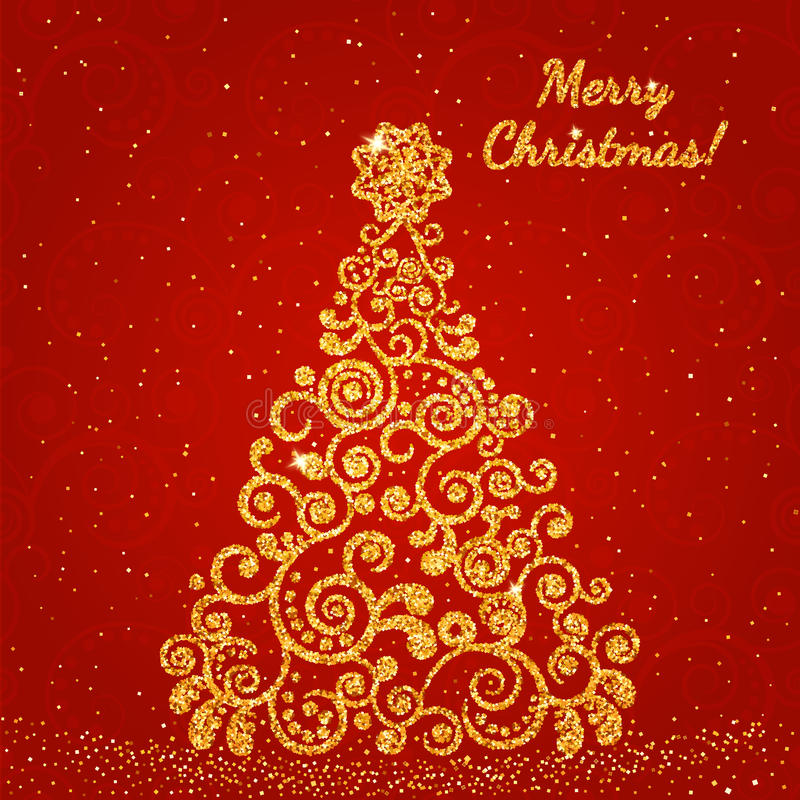 Christmas tree decorated with a delicate pattern gold