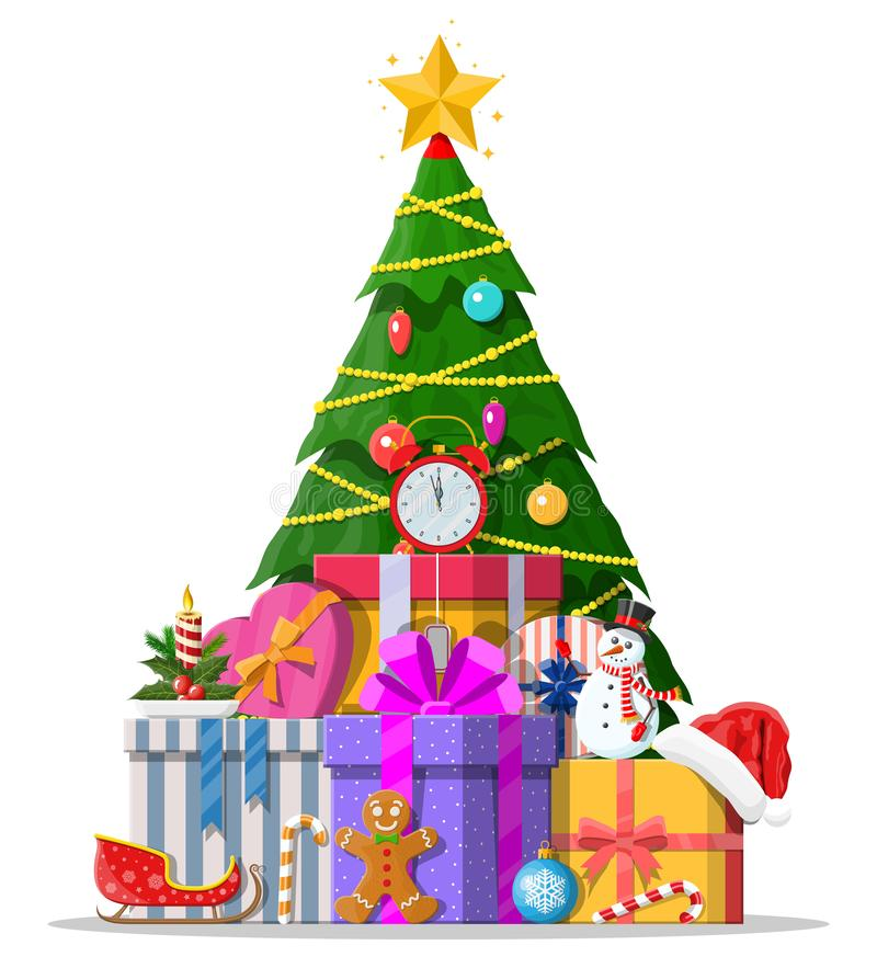 Christmas tree decorated and gift boxes. Christmas tree decorated with colorful balls, garland lights, golden star. Lots of gift boxes. Spruce, evergreen tree royalty free illustration