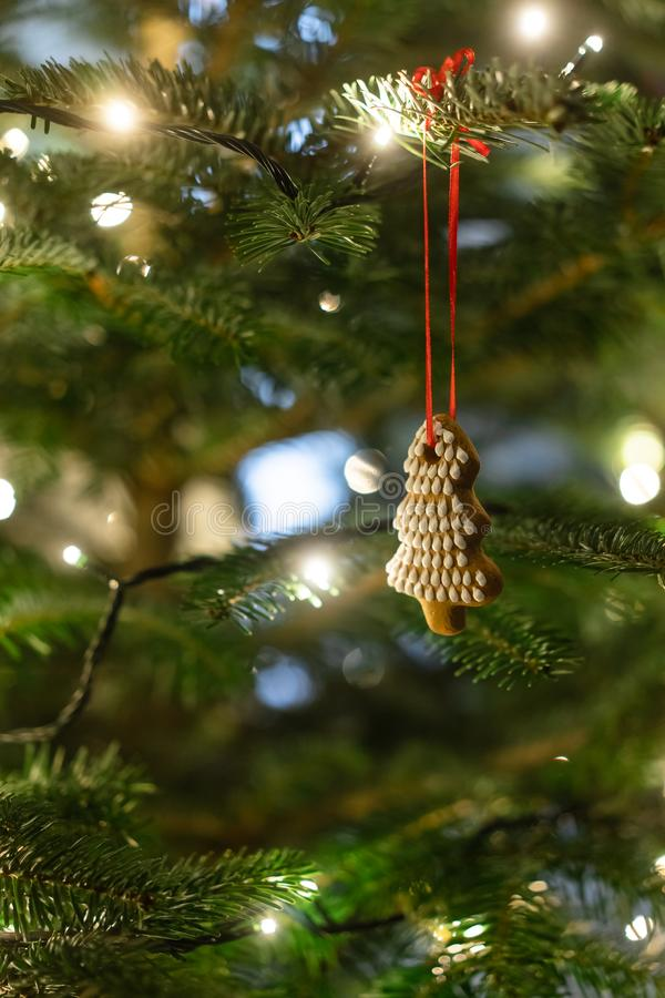 Christmas tree decorated with gingerbread cookies and garland stock photos
