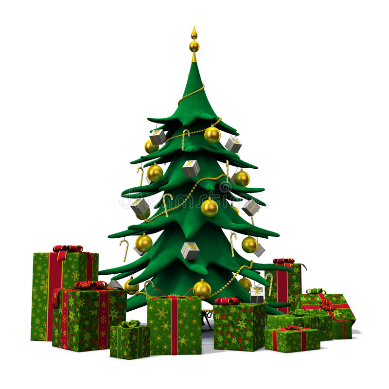 Picture Of Christmas Tree With Presents: Christmas Tree Decorated Gold With Green Presents Stock