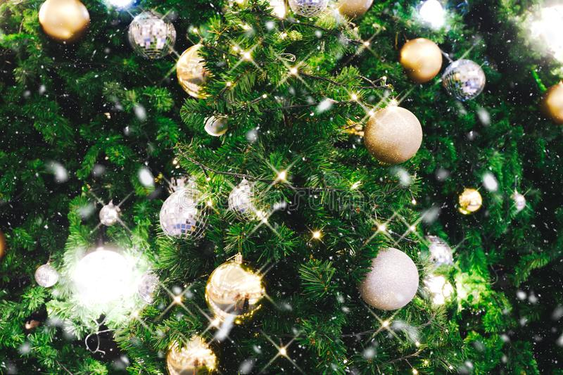 Christmas tree decorated with Christmas gold and silver ball han. Ging on tree with sparkling and twinkling lights in holiday and festive background with snowy royalty free stock image