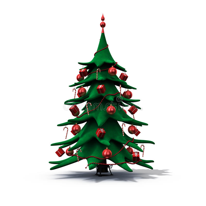 Download Christmas Tree Decorated In Red Stock Illustration - Image: 11855210
