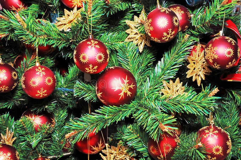 Download Christmas Tree Decorated With Red Balls. Stock Image - Image: 27259679