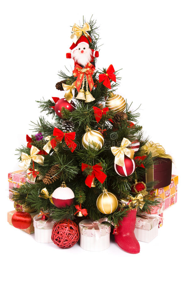 Christmas Tree Decorated In Red And Gold Stock Image - Image of ...