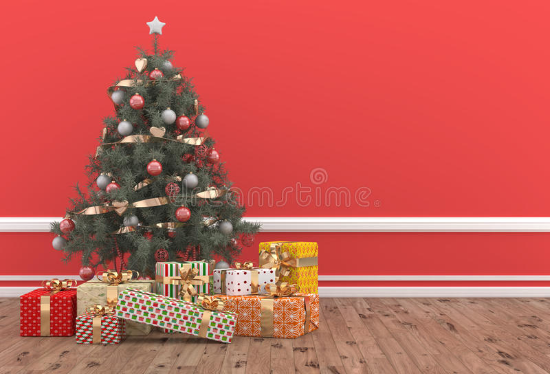 Christmas tree decorated in a red room with gift packs vector illustration