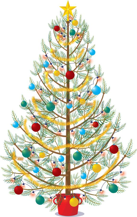 Christmas tree decorated on white background vector illustration