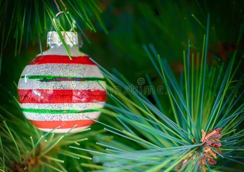 Christmas tree stripy bauble decoration. Christmas tree colorful stripy bauble decoration stock images