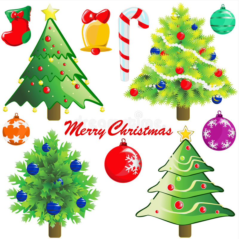 Christmas tree and decoration royalty free illustration