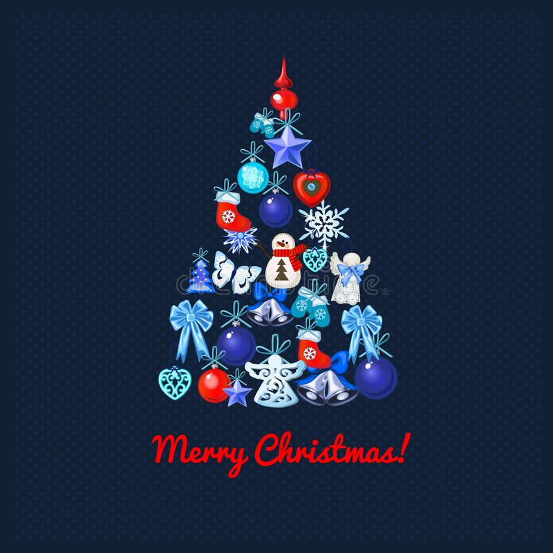 Christmas tree with decoration on a blue dotted background and the words Merry Christmas. Sample of the poster, party royalty free illustration