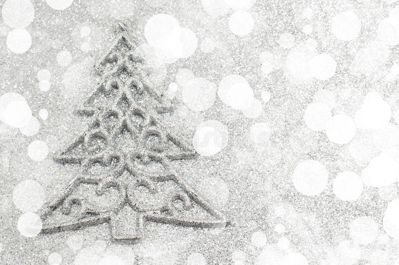 Christmas tree decoration with bokeh silver background stock illustration