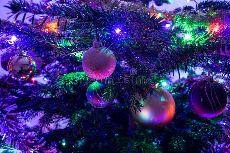 Christmas tree with decoration, close-up. Christmas tree with decoration, colorful lights, close-up stock image