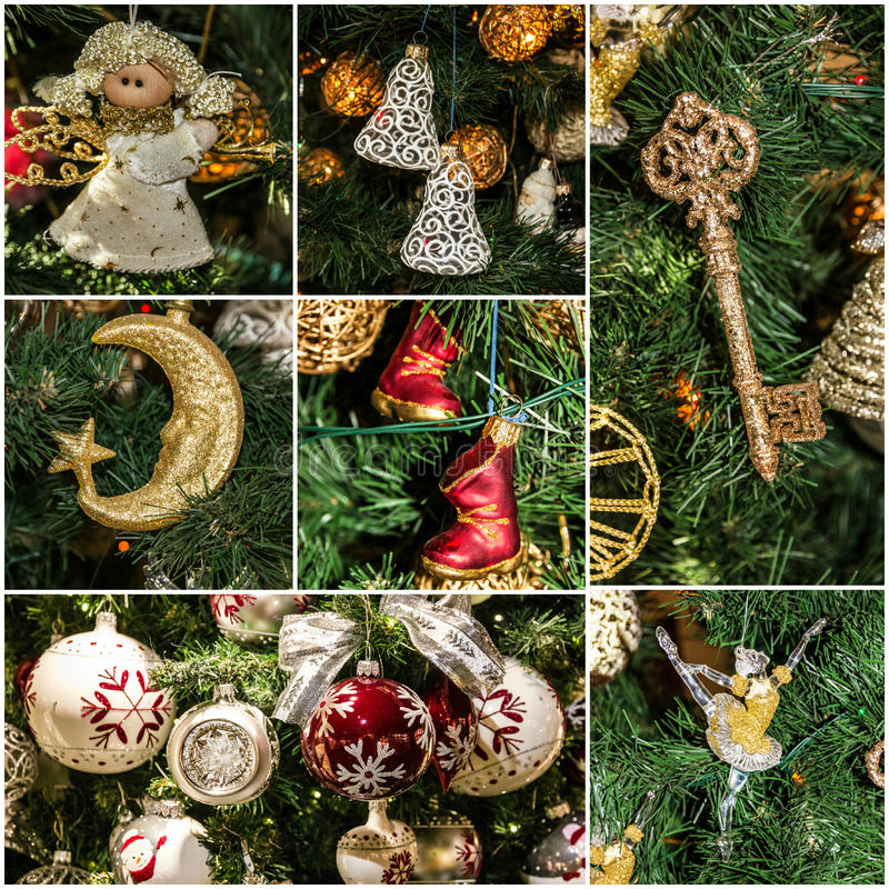 Christmas tree decoration collage holiday royalty free stock image