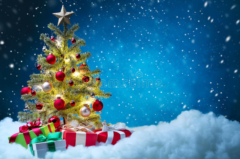 Christmas tree with decoration royalty free stock image
