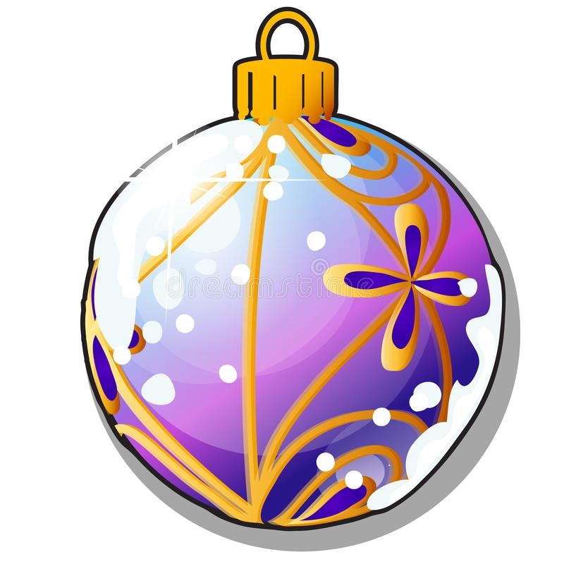 Christmas tree decoration form of ball isolated on white background. Colorful festive glass baubles. Sample of poster royalty free illustration