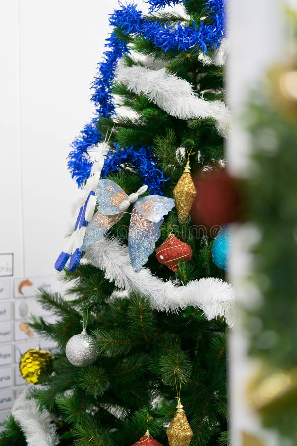 Christmas tree decoration in room royalty free stock photography