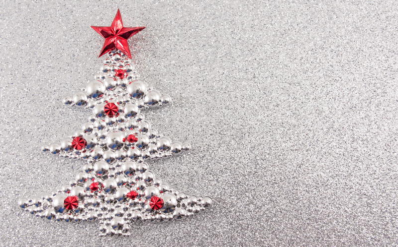Christmas tree decoration with silver glitter background stock illustration