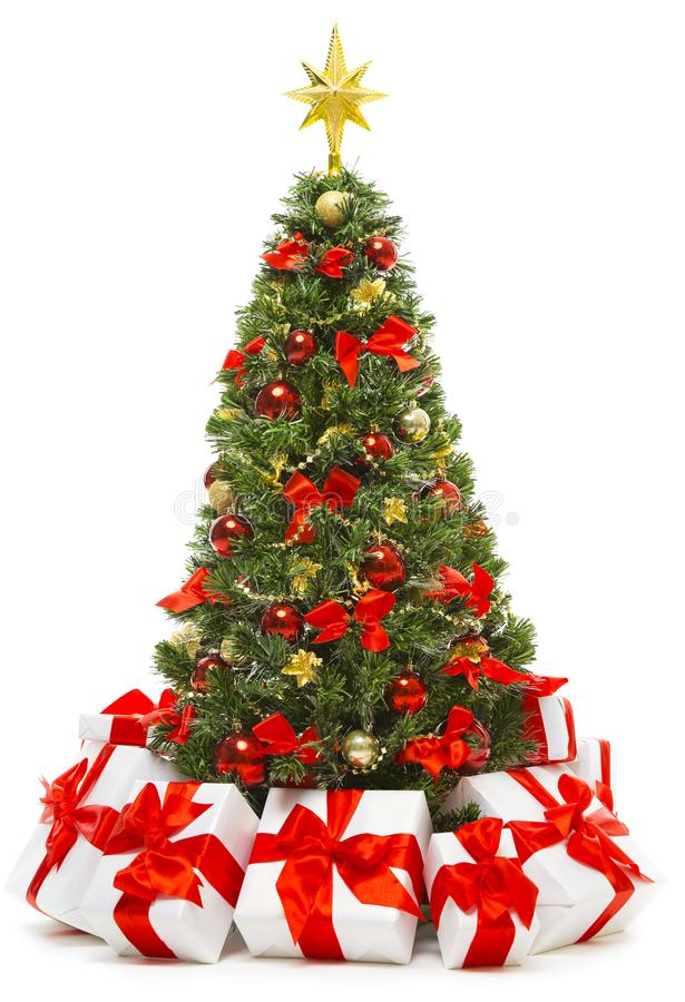 Free Christmas Tree Decoration With Present Gift Boxes, Xmas Tree Stock Photo - 103229240