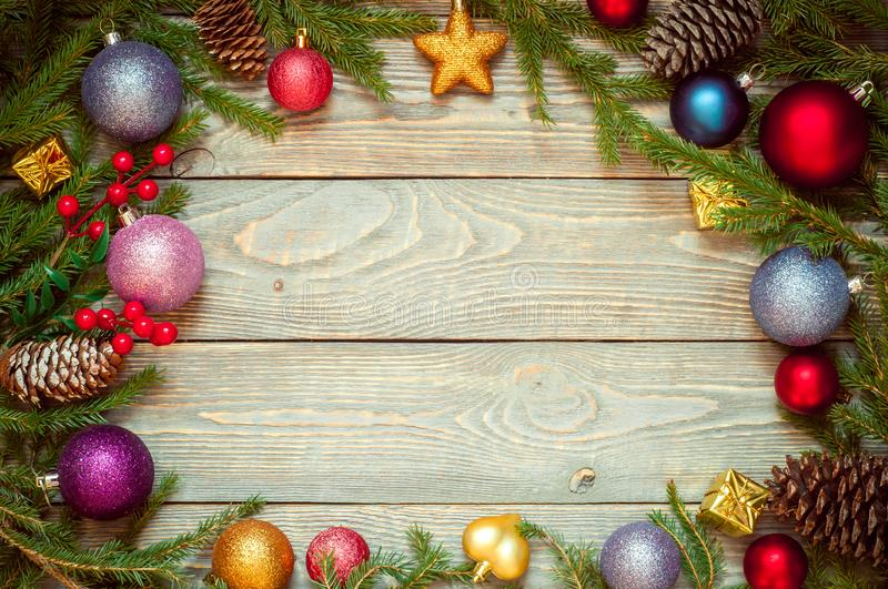 Christmas tree with decoration on a wooden Board. Christmas toy. New year. Free space for text.  royalty free stock images