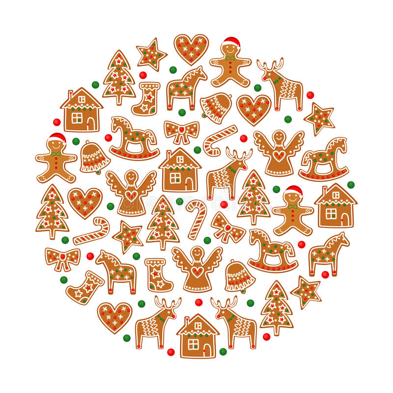 Christmas tree decoration. Xmas cookies collection - gingerbread cookies figures vector illustration