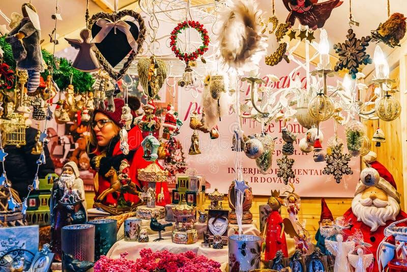 Christmas tree decoration on Xmas market in Vilnius royalty free stock photo