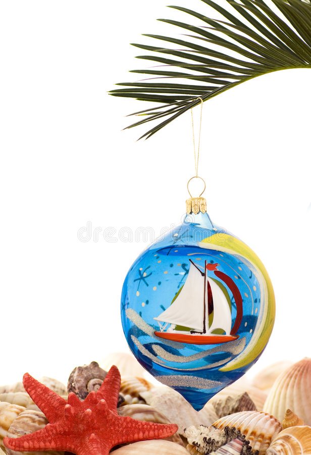 Christmas tree decorations. Christmas tree decoration with shells royalty free stock photos