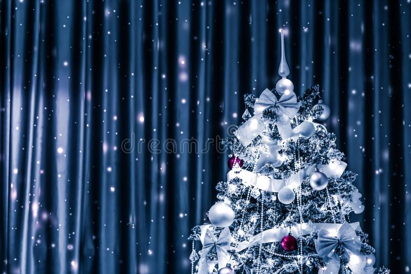 Christmas tree decorations, baubles, bows and garlands as festive home decor, vintage greeting card for luxury holiday brand,. Festive, branding and season royalty free stock images