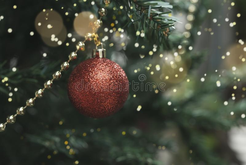 Christmas tree with decorations and light bokeh background. for Christmas and Happy New Year 2020 stock image