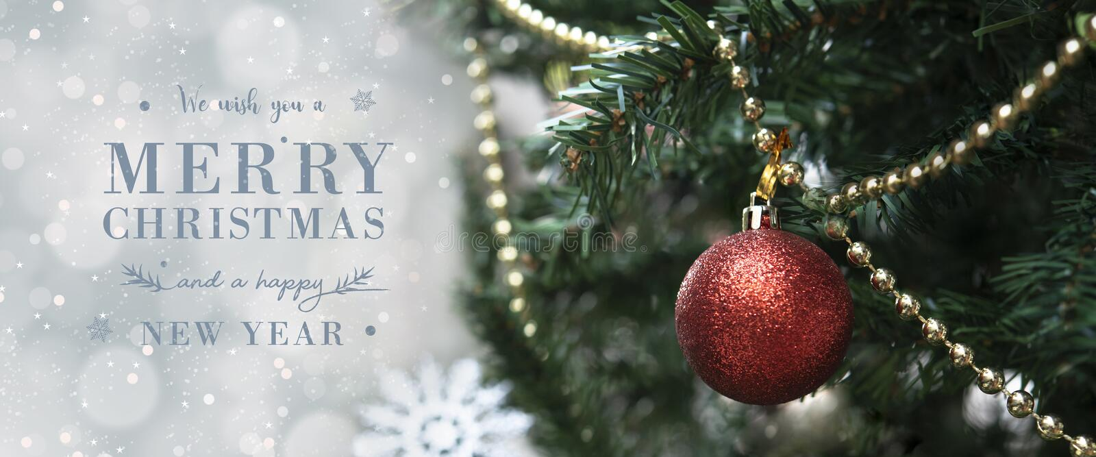 Christmas tree with decorations and light bokeh background. for Christmas and Happy New Year 2020. header and cover royalty free stock photo