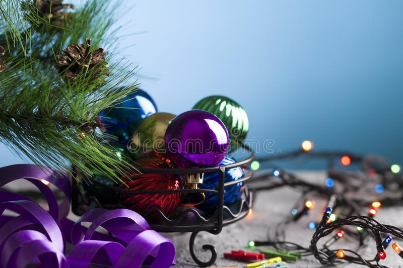 Christmas tree decorations, prepare for winter holidays background.  royalty free stock photo