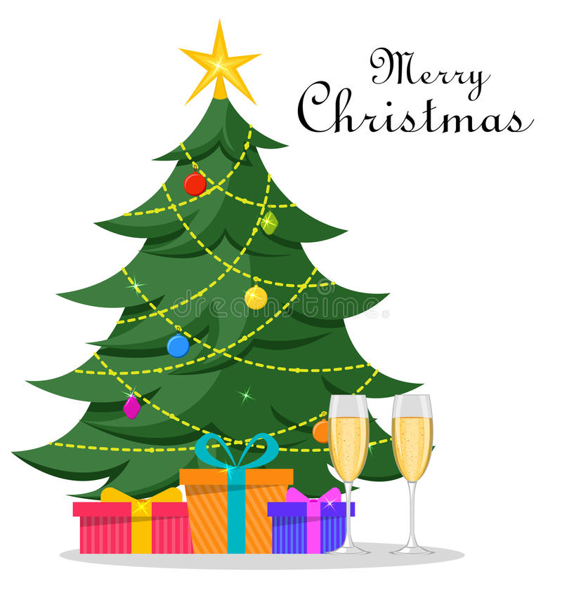 Christmas Tree with decorations, presents under it and two glasses of champagne. Merry Christmas and Happy New Year vector illustration