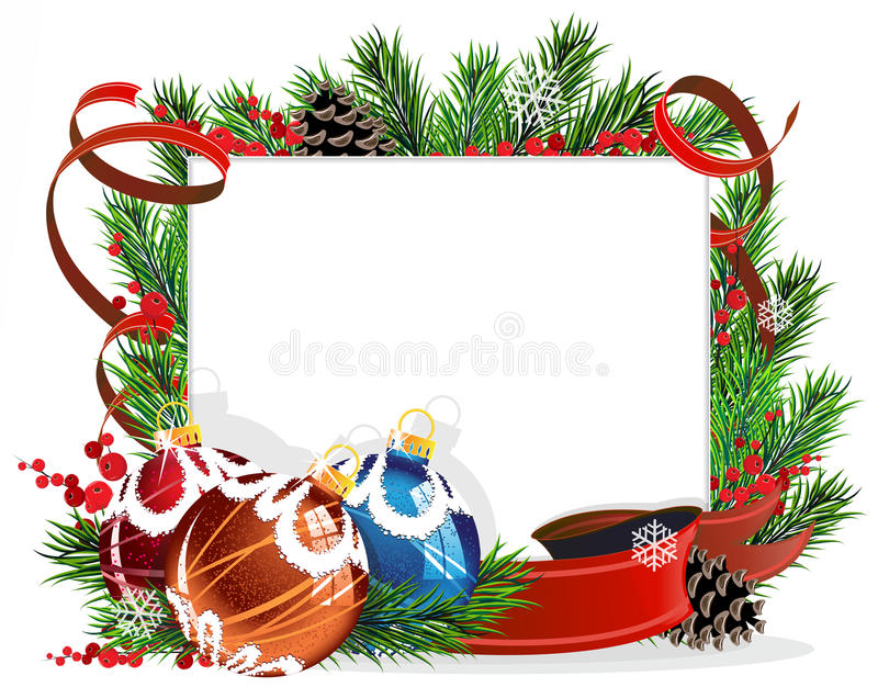 Christmas Tree Decorations With Red Ribbons Stock Vector